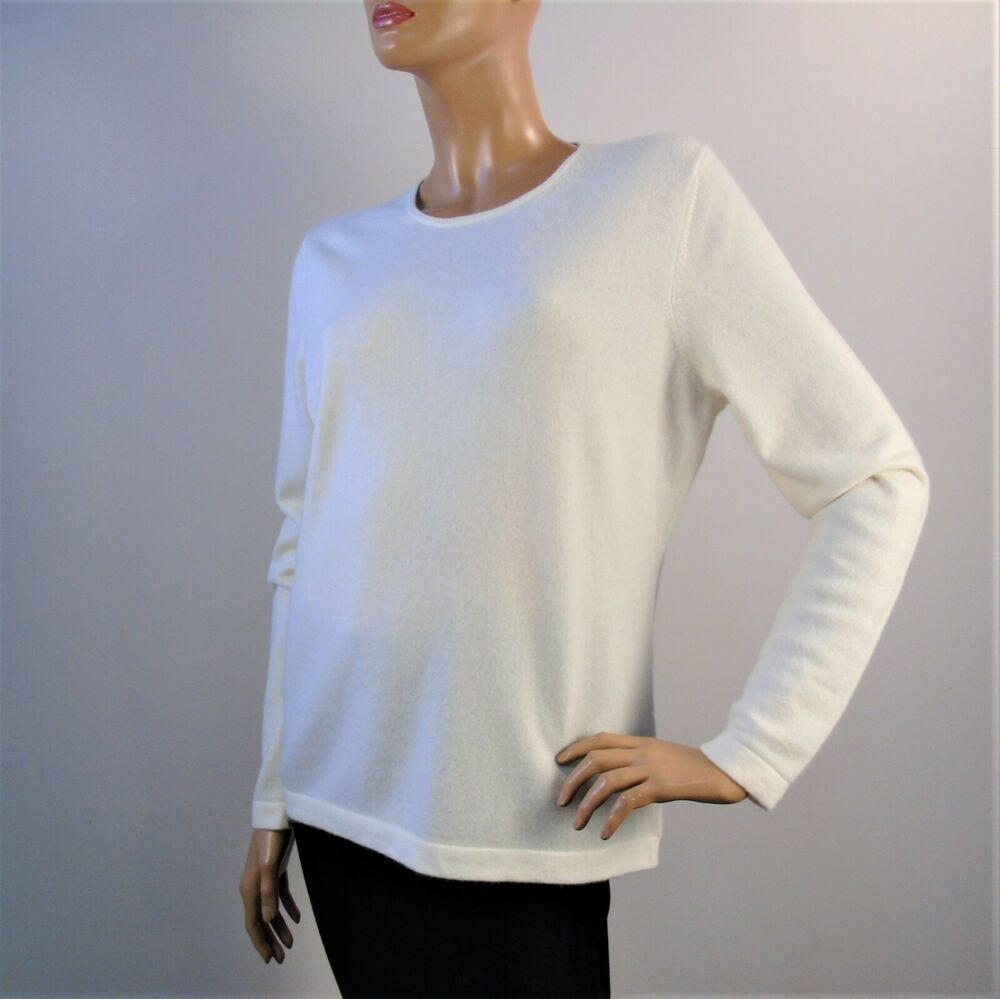 Pure Collection Cashmere Sweater White Crew Neck Long Sleeve