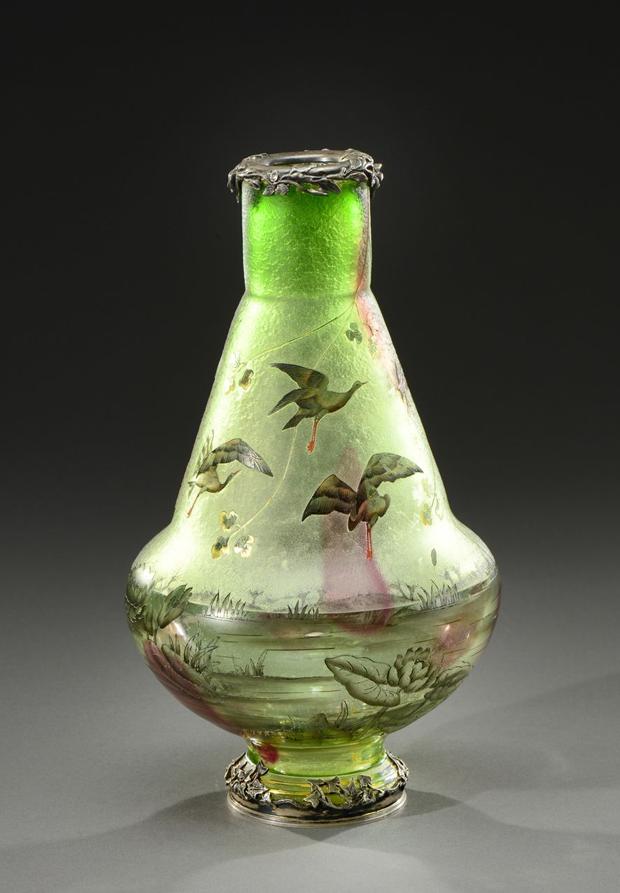 A rare glass vase acid etched and enamelled with flying storks in a rare glass vase acid etched and enamelled with flying storks in a lakeside scene reviewsmspy