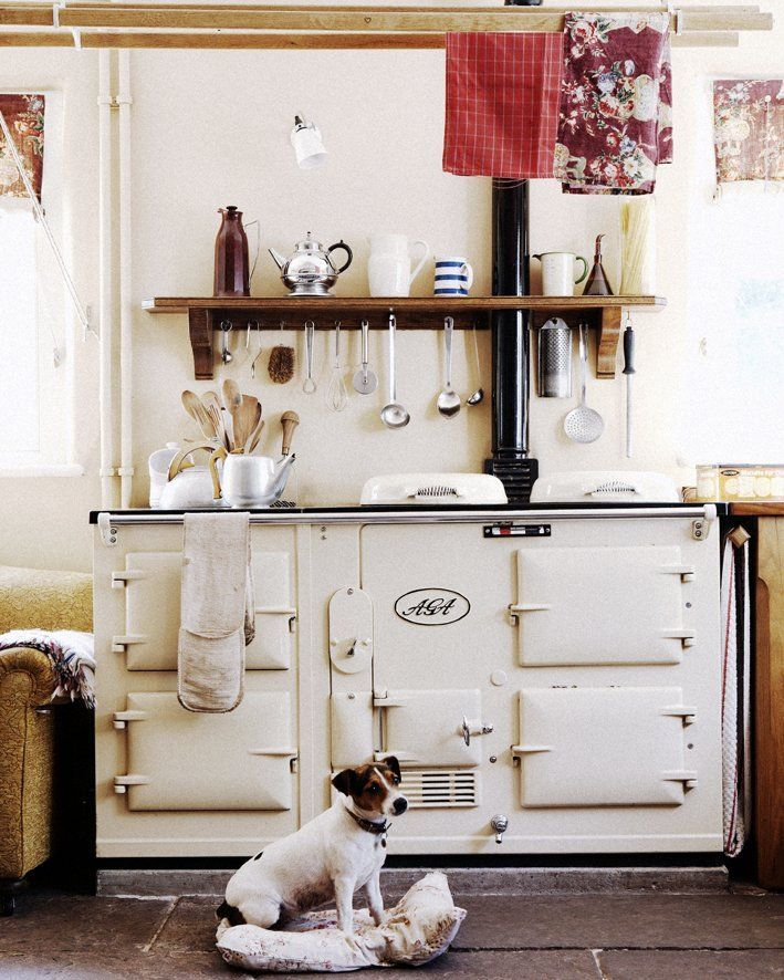 Country Kitchen Range: Perfect Little Vignette: Vintage Cream Aga Stove, Linen Dishtowels, Open Wood Shelving,and A