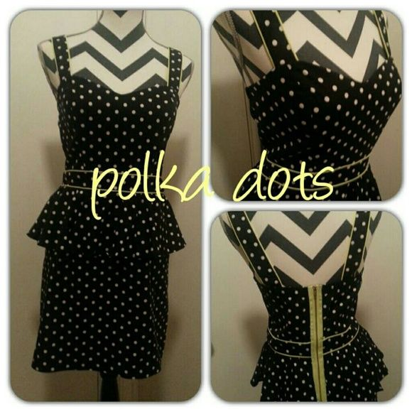 Adorable dress Black with white polka dot peplum dress. Lime green trim. Good condition.  Soo cute. Dresses