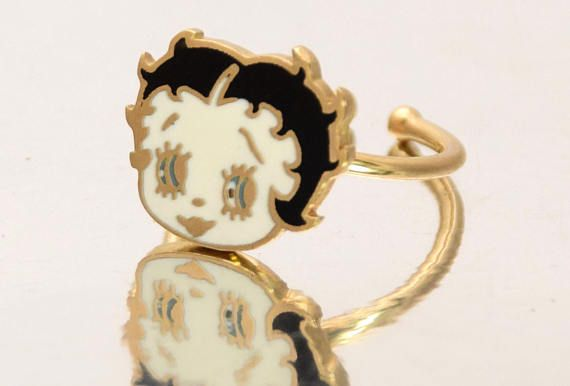 Betty Boop 14k Gold Ring Children Ladies Retro Pin Up Ring Solid