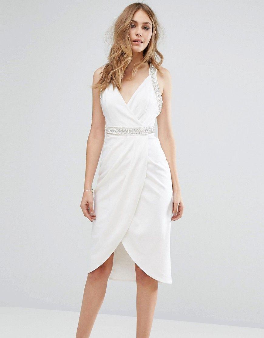 c31e8800632 TFNC Wrap Midi Dress With Embellished Trim - White