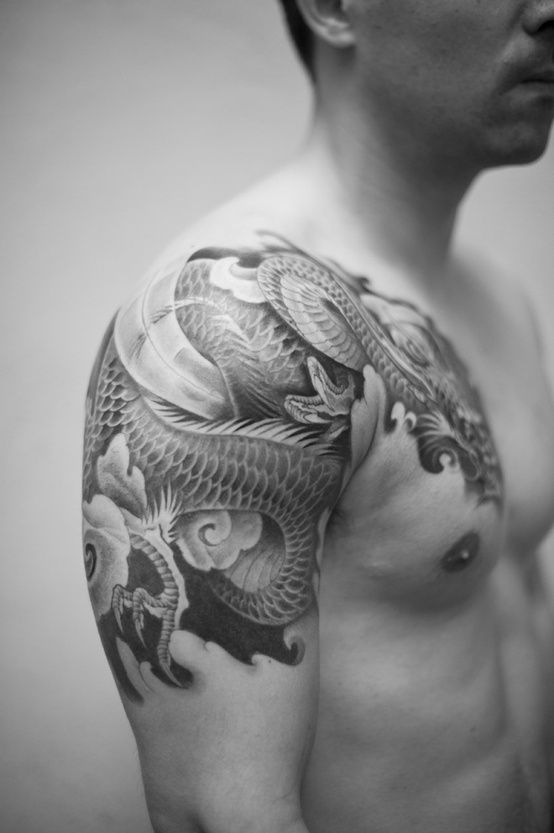 Dragon tattoo chest shoulder 1 tattoos pinterest for Shoulder and chest tattoos