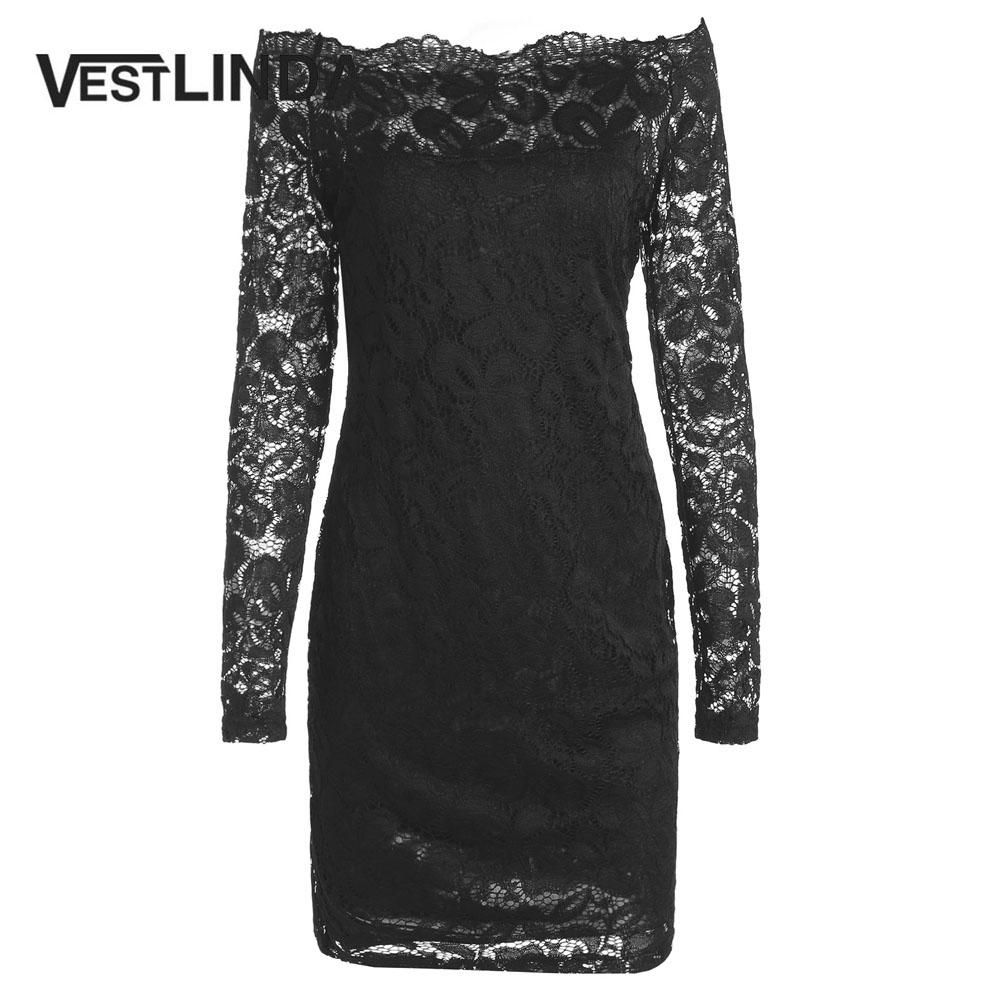 a7c4ef0111 Womens Lace Dress Off Shoulder Long Sleeve Trendy Black Mini Bodycon Dresses  Sexy