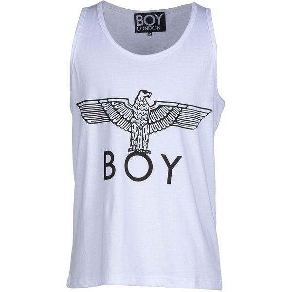 Boy London Tank Top (42 AUD) ❤ liked on Polyvore featuring men's fashion, men's clothing, men's shirts, men's tank tops and white