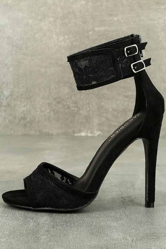 dfcc811660b33 Transform yourself into the stylish diva that you are with the Drusilla  Black Lace Ankle Strap Heels! Sheer lace trims the peep-toe and adjustable  ankle ...