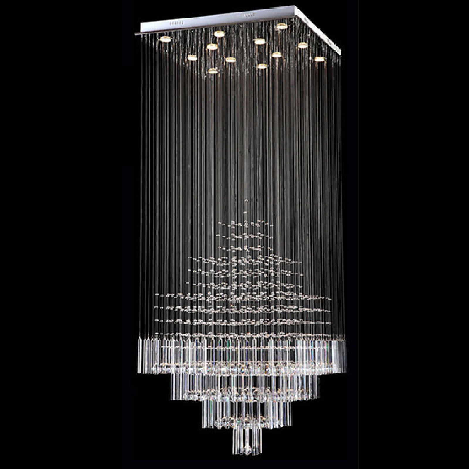BYB Modern Chandelier Rain Drop Lighting Square Crystal Ball