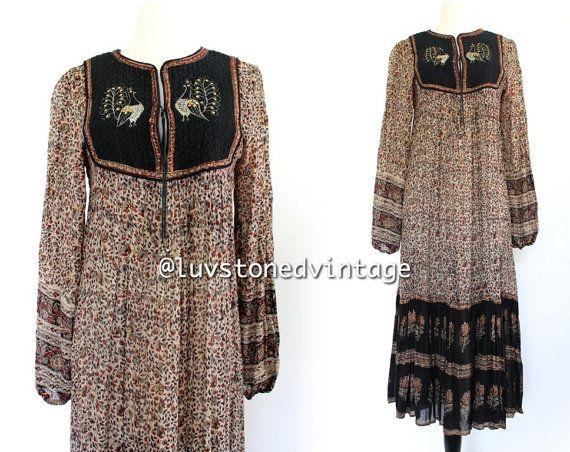 70s Rare Vintage Walia's India Indian Embroidered Peacock Boho Hippie Cotton Gauze Gypsy Festival Maxi Dress . XS . S . 776.3.26.14