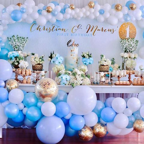 Popular Boys Balloon Decorations Blue White And Gold Baby