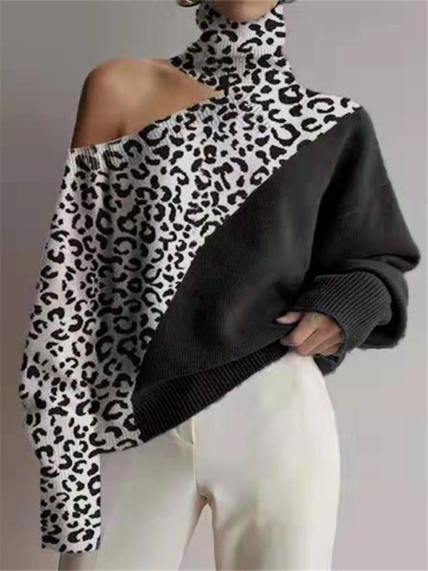 Fashion High Collar Off Shoulder Leopard Splicing
