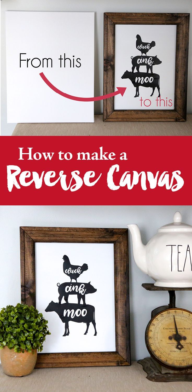 How to make a reverse canvas Diy canvas, Farmhouse