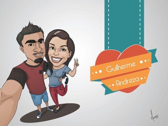 Caricatura de casal estilo selfie. Ganhadores de um sorteio. ;D