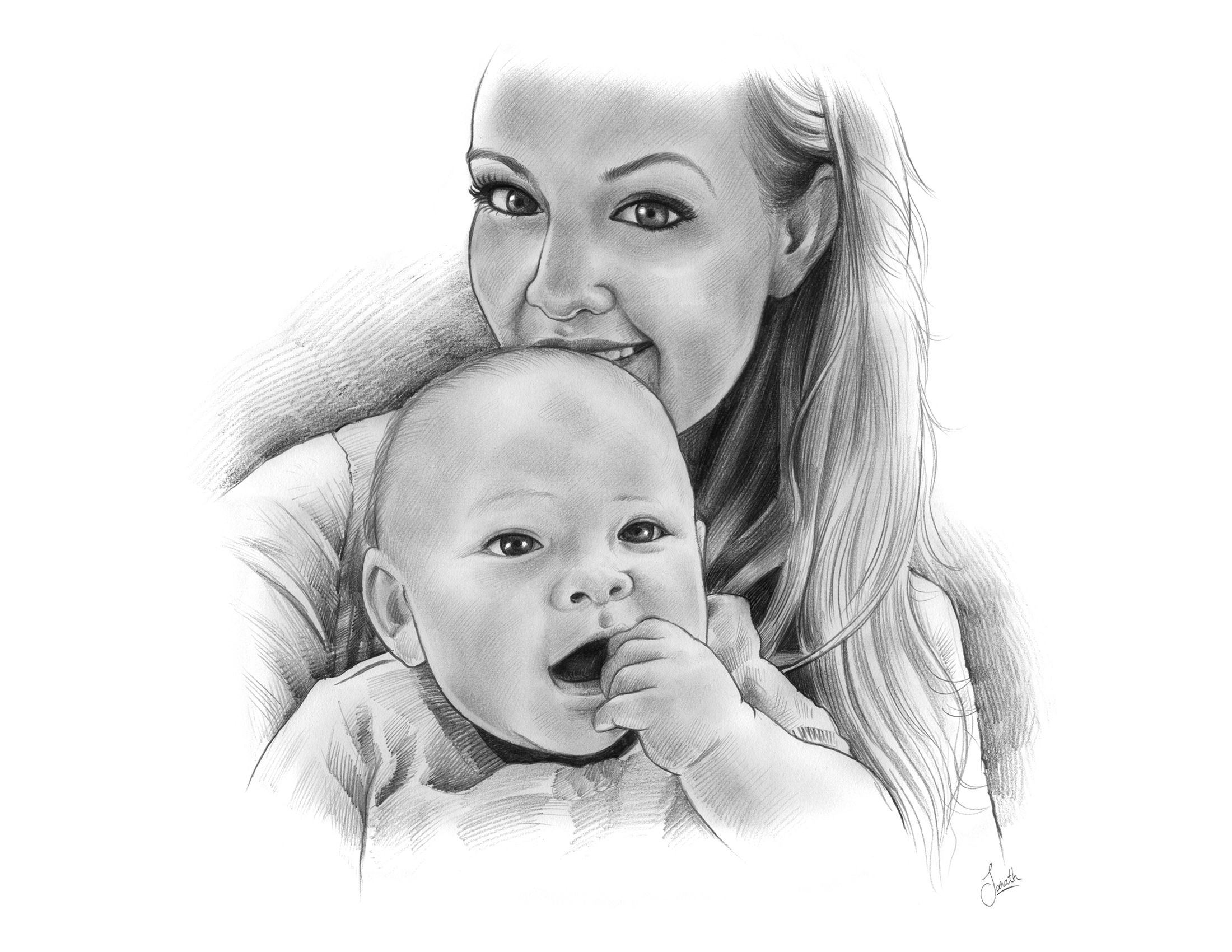 Mothers day pencil sketch from a photo only giveamasterpice com