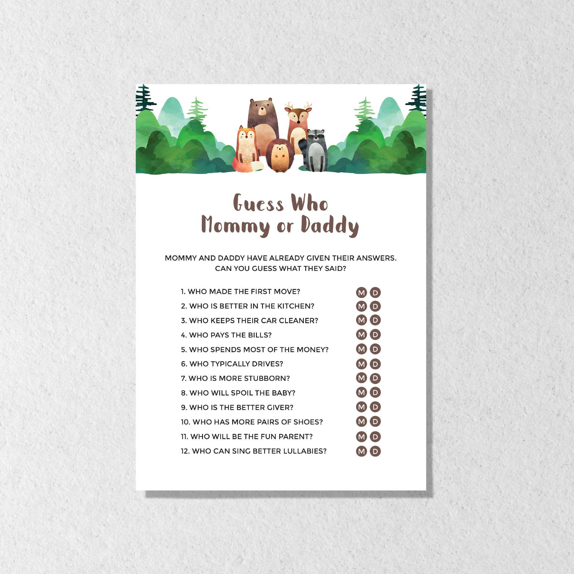 Guess Who Mommy or Daddy Game, Mom or Dad Woodland Baby Shower Games, Greenery Printable Game