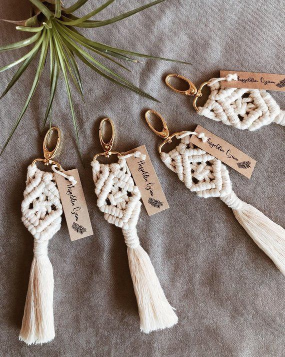 25pcs Bohemian Macrame Keychain to use for Wedding favor, Babyshower Gift for Guests, Bridal Shower #craftstosell