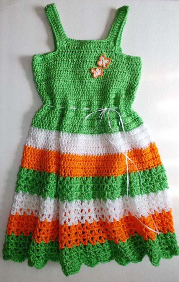 Chicas de Multi verde Crochet Vestido por KDsDoubleCrochet en Etsy ...