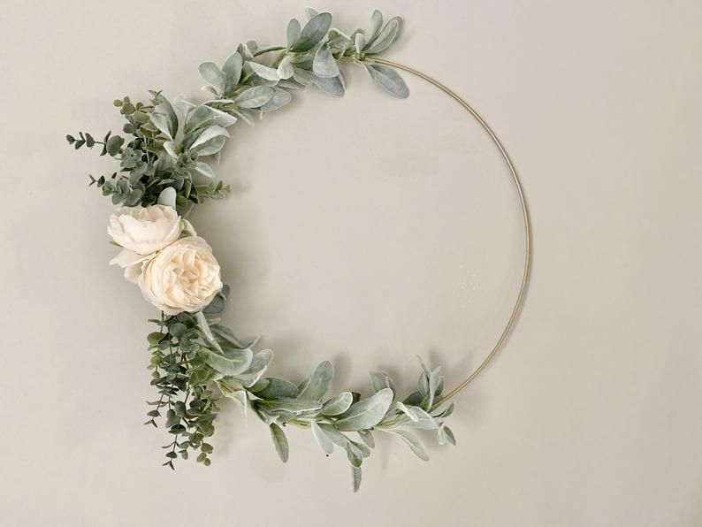 Photo of Floral Hoop Wreath-Nursery Decor-Wedding-Bridal Shower-Baby Shower-Minimalist