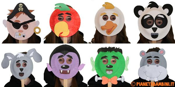 30 idee per maschere di carnevale con piatti di carta for Maschere di animali di carnevale da colorare