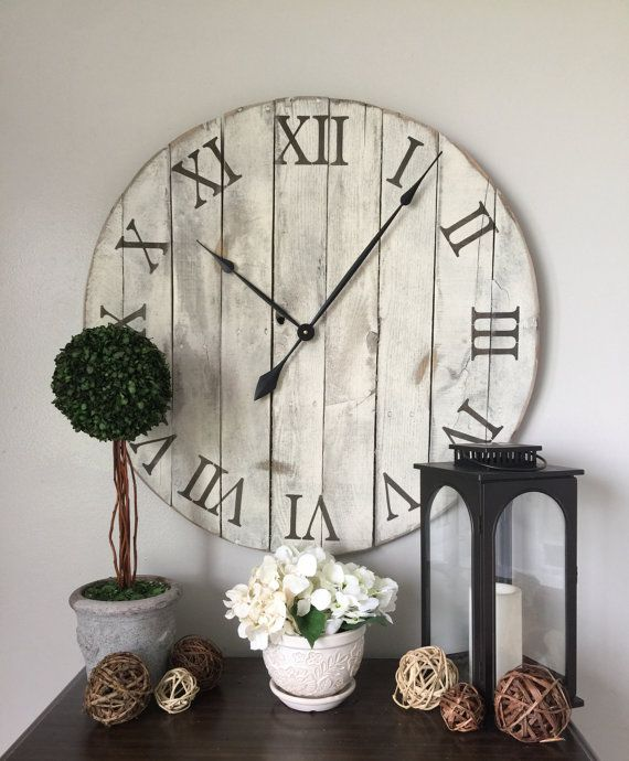 30 in wall clock white oversized wall clock rustic wall clock wall hanging barn wood clock white wall clock