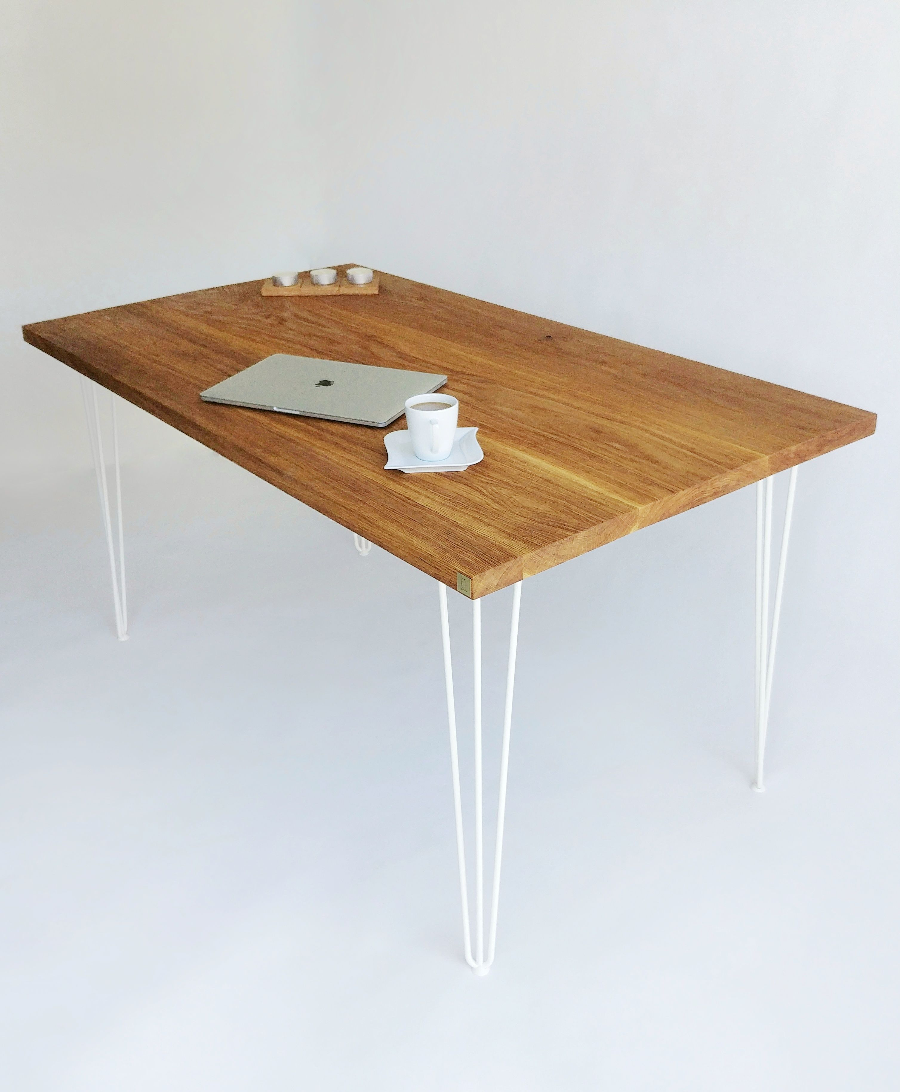 Oak Top Dining Table With White Hairpin Legs Hairpin Dining