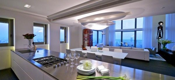 Astonishing Luxurious Penthouse Design for Modern Living: Wonderful Kitchen Design With Modern Interior Style With White Cabinet And Glossy ...