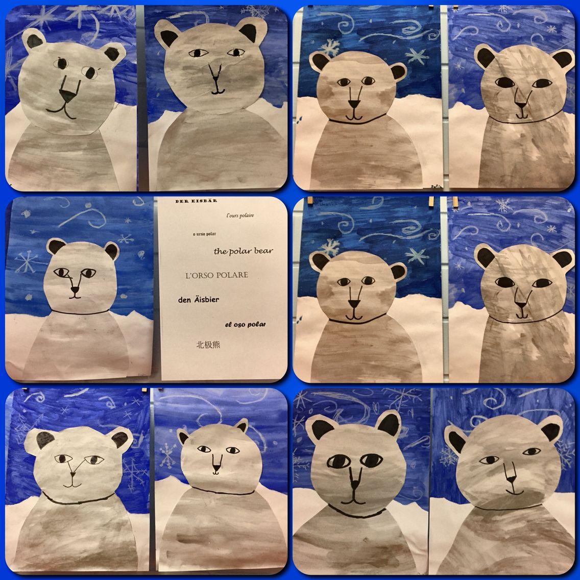 Eisbären Mit Wasserfarben und Wachsmalkreide.   Kunstunterricht ...