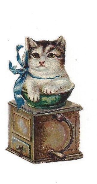 Victorian Die Cut Scrap Kitten in a Coffee Grinder
