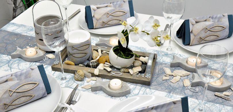 Tischdekoration Zur Kommunion Konfirmation Oder Jugendweihe In Grau