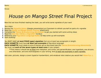 house on mango street final project writing vignettes this is an excellent end of unit project for house on mango street