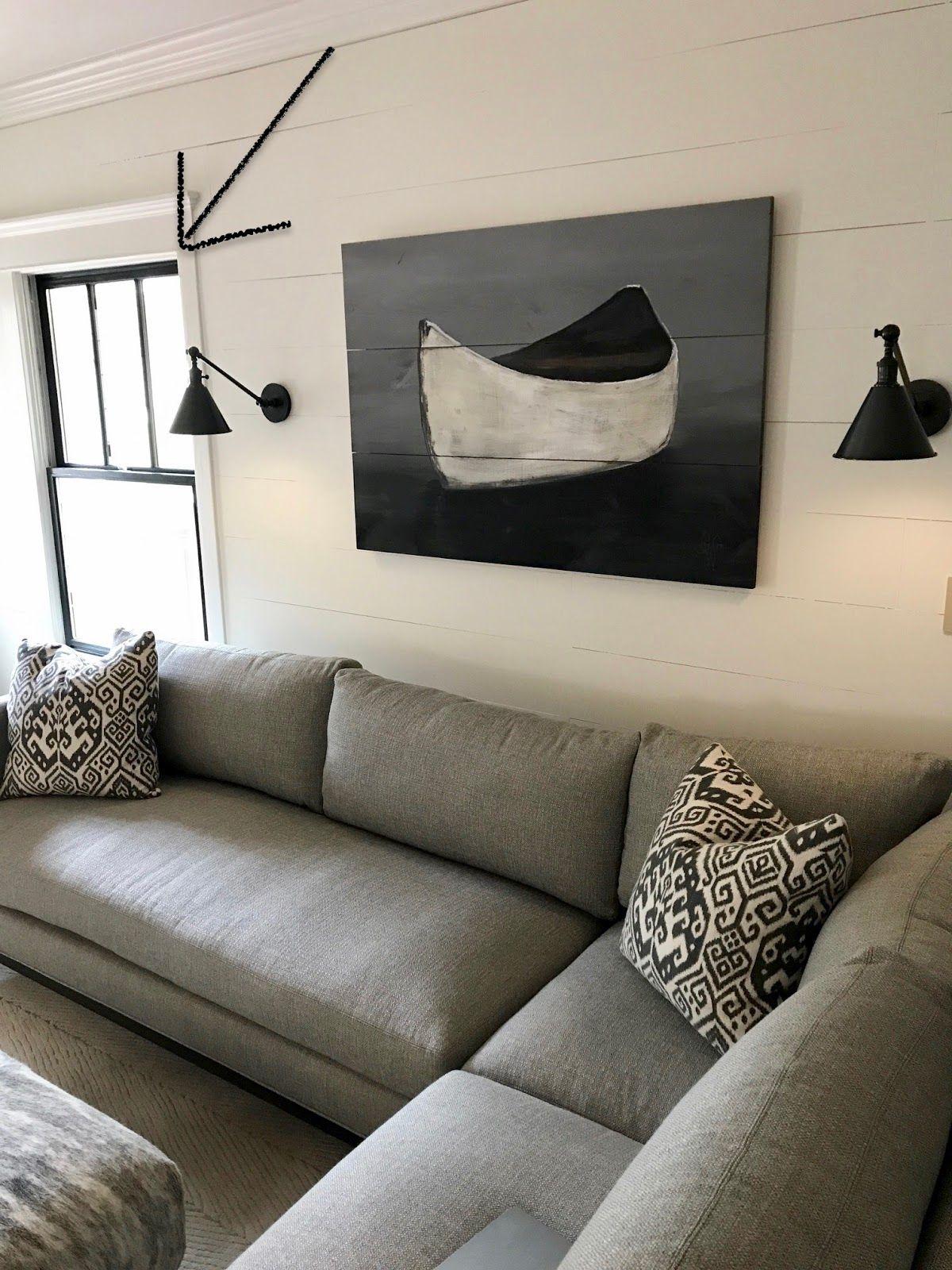 Lee Industries Sofa Artwork, Wall Sconces, Shiplap Wall
