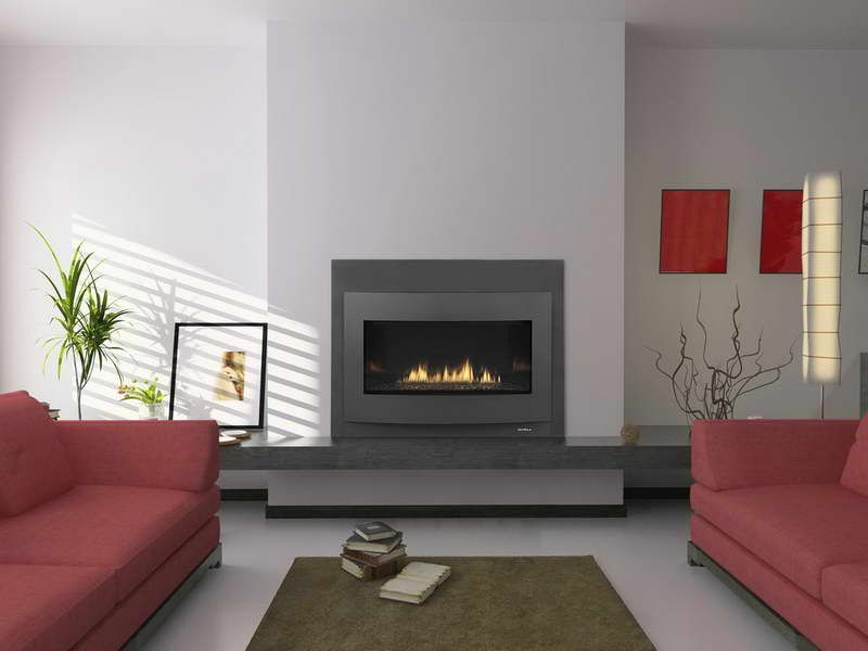 Gas Fireplace Modern Decor Real Wood Contemporary Design With Red Sofa Vissbiz