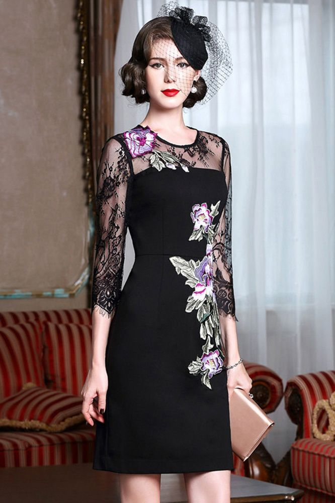 Sheath black cocktail dress with embroidery wedding guest for Where to buy a wedding guest dress