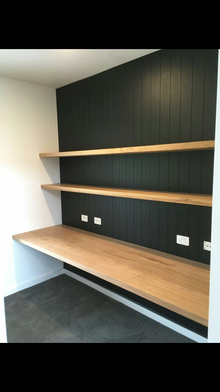 Wood Work Surface Plus Open Shelves Above Wallpaper Behind Instead Of Shiplap Home Office