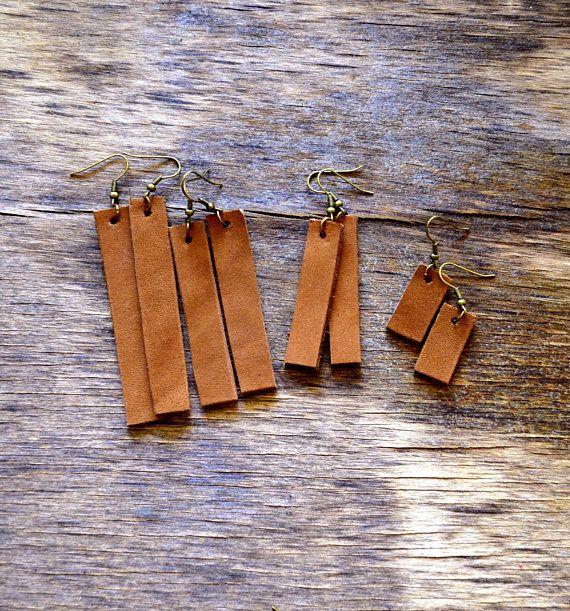 Photo of bar drop earrings, tan leather bar earrings, long bar studs, bar dangle joanna gaines earrings, western earrings, boho leather jewelry