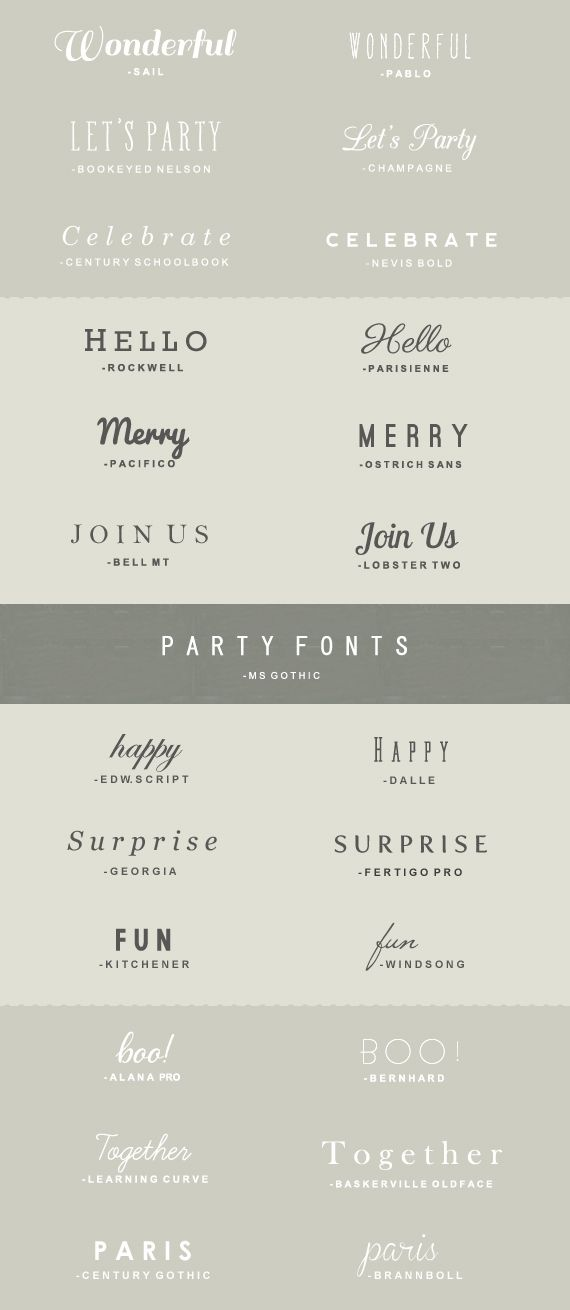 "Lovely combos and their sources. ""Party fonts"" Some for free, some for purchase."
