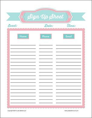 Printable Sign Up Sheets For Ministry Made 2 B Creative Sign Up Sheets Sign In Sheet Template Printable Signs