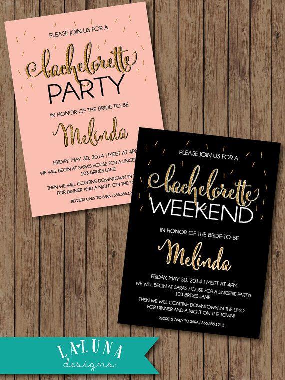 Bachelorette Party Invitation, Glitter Bachelorette, Bachelorette Weekend, Hens Party Invitation, Glitter Invitation, Confetti Invitation