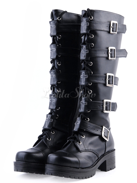 Lolitashow Süße Lolita Stiefel schwarze kniehohe klobige