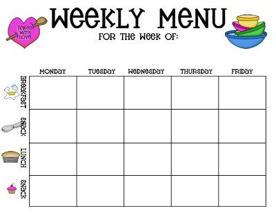 Childcare Menu Plan Template | Created With The Childcare Provider