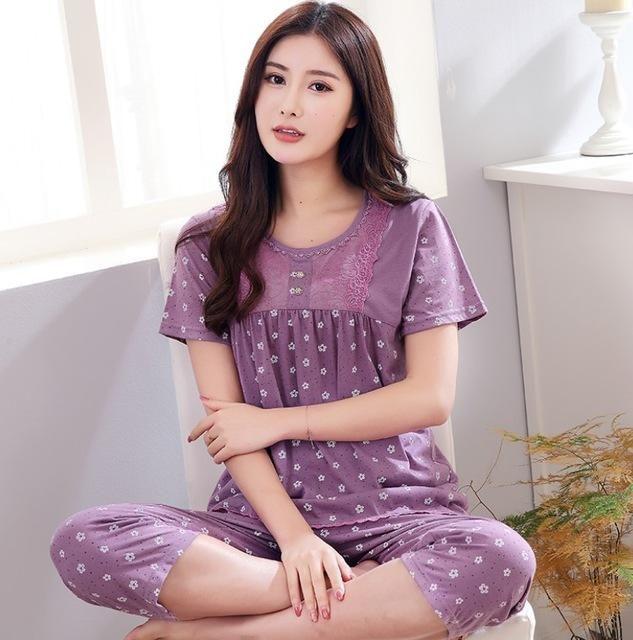 New arrived women pajamas set summer floral print pyjamas cotton sleepwear  women night suit tracksuit home 5f2e30604