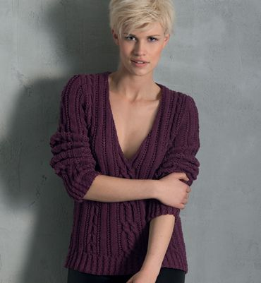 modele tricot pull col v