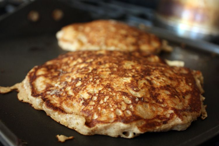 "Apple Cinnamon Oatmeal pancakes - I just made mine using ""complete"" pancake mix and a packet of instant apple cinnamon oatmeal. A quicky version that wasn't half bad!"