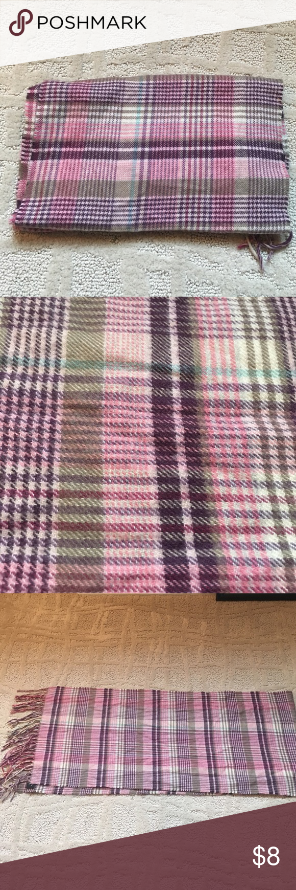 Winter plaid scarf EUC condition. No flaws. Warm and cute and fashionable. Has shades of pink and burgundy, also beige and blue. Accessories Scarves & Wraps
