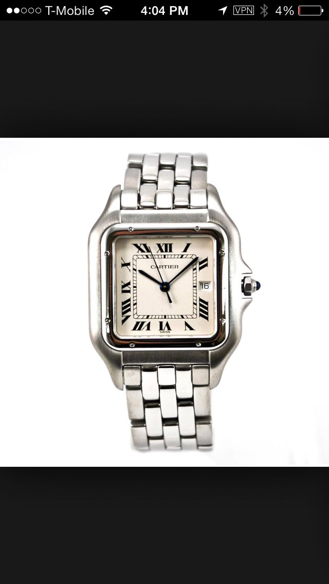 Cartier stainless steel unisex Panthere.  Stylish and sleek design with Jumbo date set at 3pm Roman Número.  It's classic and timeless.  Good cosmetic condition.    Crown is blue sapphire cabochon. 27mm thick.  Stainless hidden folding double closure.  No box or papers.   1250