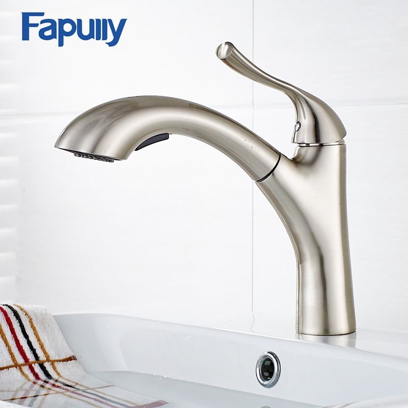 Fapully Pull Out Kitchen Sink Faucet Chrome Pull Down Water Mixer ...