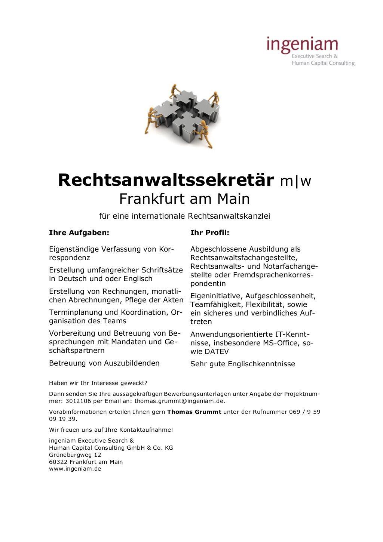 Rechtsanwaltssekretär mw Frankfurt am Main für eine