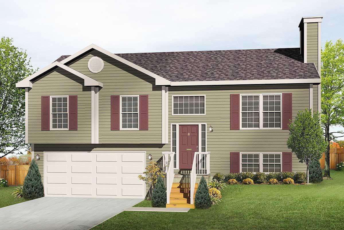 Plan 22003sl Cozy Split Level Home Plan In 2021 Split Level House Plans Exterior Paint Colors For House House Exterior