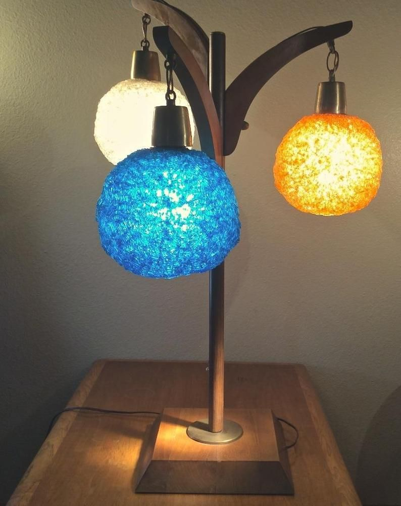 From My Mid Century Modern Collection Here Is Another Spectacular Vintage Spun Lucite Spaghetti Lamp It Features A Danish Wood Base With 3 Round