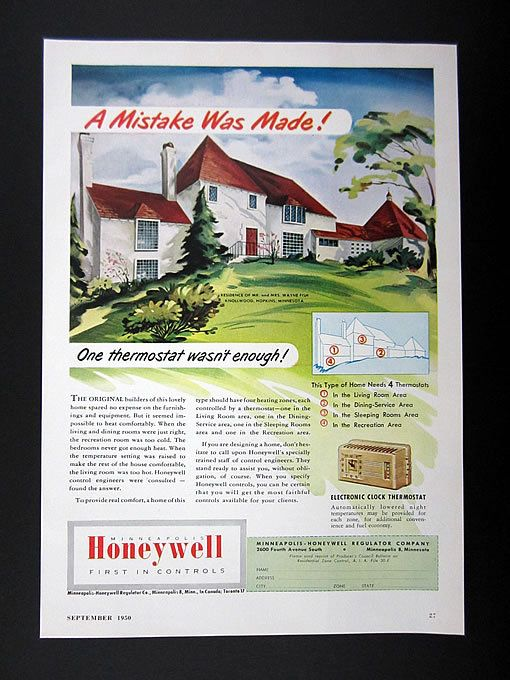 Honeywell Thermostats Knollwood Hopkins Mn House 1950 Print Ad
