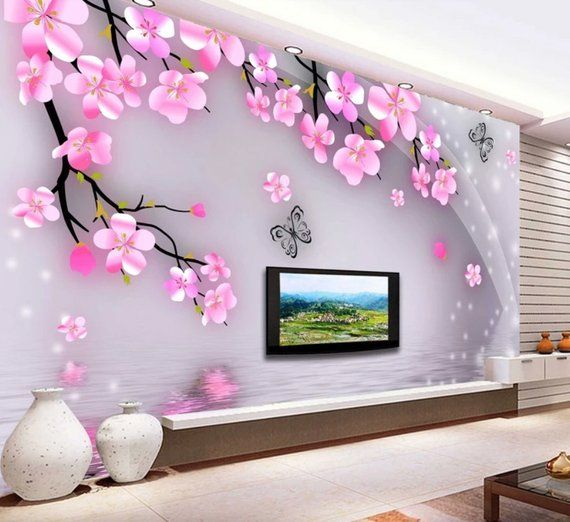 Peach Blossom Textile Wallpaper Pink Floral Tree Branches Wall Etsy Trendy Living Room Wallpaper Living Room Wallpaper Tv Wallpaper Living Room Living room background wall sticker